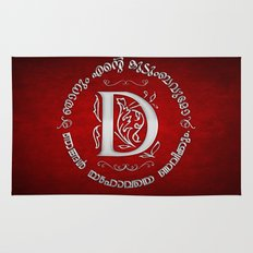 Joshua 24:15 - (Silver on Red) Monogram D Rug