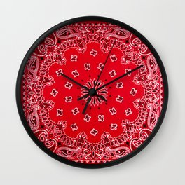 Paisley - Bandana Art - Red - Southwestern Wall Clock