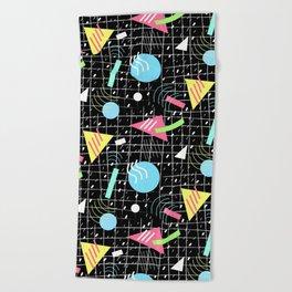 Memphis Style Vibes (Dark) Beach Towel