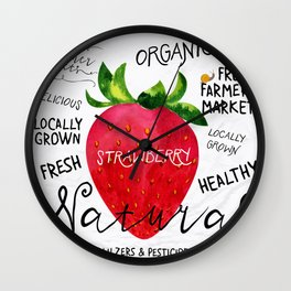 Watercolor strawberry Wall Clock