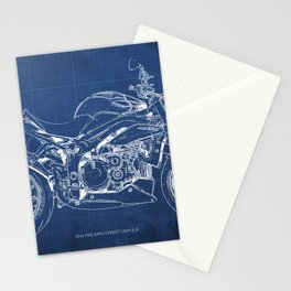 Motorcycle blueprint, white and blue art Stationery Cards