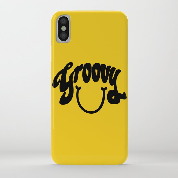 Groovy Smile // Black Smiley Face Fun Retro 70s Hippie Vibes Mustard Yellow Lettering Typography Art iPhone Case