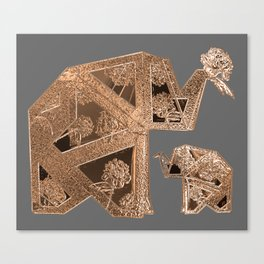 18k Gold Metallic Elephants with Floral Detail Canvas Print