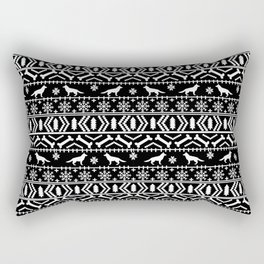 German Shepherd fair isle christmas pattern dog gifts dog breeds pet art holiday black and white Rectangular Pillow