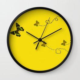 Butterflies on yellow Wall Clock