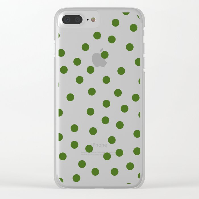 Simply Dots in Jungle Green Clear iPhone Case