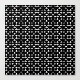 Fleur de lis white black 5 Canvas Print
