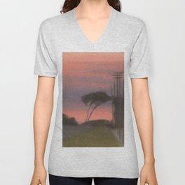 Evening Landscape - Clarice Beckett - Australian abstract Realism Unisex V-Neck
