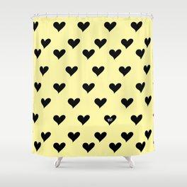Retro Hearts Pattern Pastel Yellow Shower Curtain