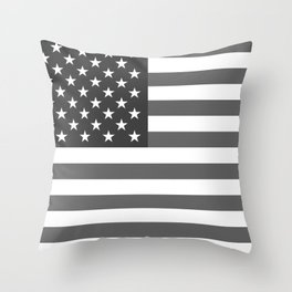 American flag in Gray scale Throw Pillow