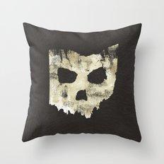 Ohio Skull Throw Pillow