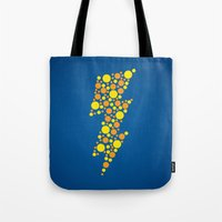 lightning Tote Bags featuring Lightning by Danielle Podeszek