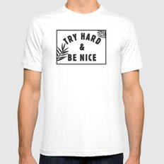 Be Nice & Try Hard White MEDIUM Mens Fitted Tee