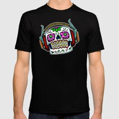 Sugar Skull with Headphones Zombie by RonkyTonk Mens Fitted Tee Black LARGE