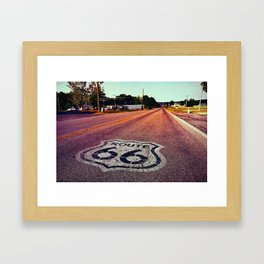 U.S. Route 66 highway, with sign on asphalt on Missouri. Framed Art Print