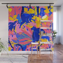 Abstract wild lemurs sitting among the exotic plants Wall Mural