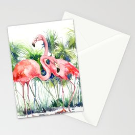 Flamingo Flamingos and Papyrus, flamingo lover pink green art Stationery Cards
