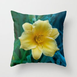 Yellow Day Lily on Green Blue Background Throw Pillow