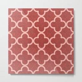 Red Arabic Tile Metal Print
