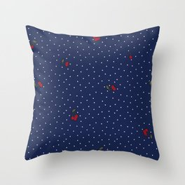 Dots and cherries retro pattern Throw Pillow