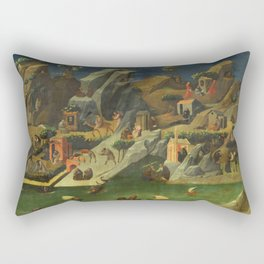"""Fra Angelico (Guido di Pietro) """"Scenes from the Lives of the Desert Fathers (Thebaid)"""" Rectangular Pillow"""