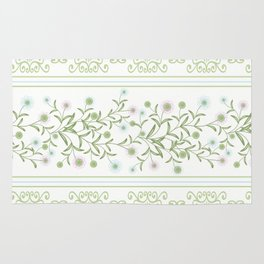 Delicate floral pattern with decorative bands. Rug