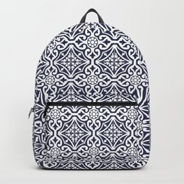 Talavera Mexican Tile in Navy Blue and White Backpack