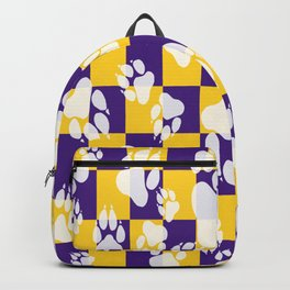 Tiger Claws on Purple and Gold Checker Pattern Digital Design Backpack