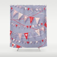 card Shower Curtains featuring Hate card by Lime