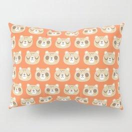 Cute Bear Pattern / Repeat Print / Orange Pillow Sham