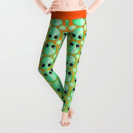 Happy Alien and Daisy Nineties Grunge Pattern Leggings