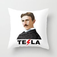 tesla Throw Pillows featuring Tesla by Vi Sion