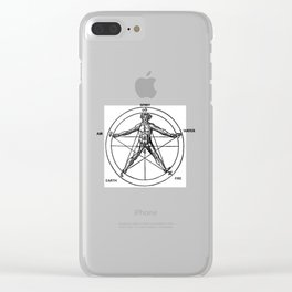 Three books of occult philosophy - man inscribed in a pentagram Clear iPhone Case