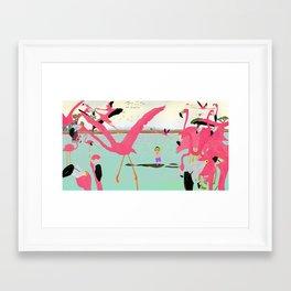 a flamboyance of flamingos  Framed Art Print