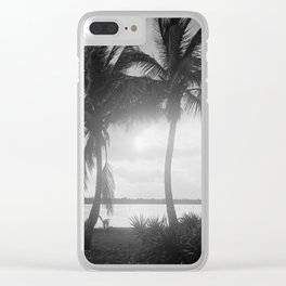 Black and White Florida Palm Trees Photograph (1915) Clear iPhone Case