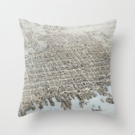 Vintage Pictorial Map of New Bedford MA (1876) Throw Pillow