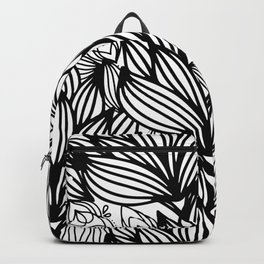 Modern hand drawn black white watercolor floral Backpack