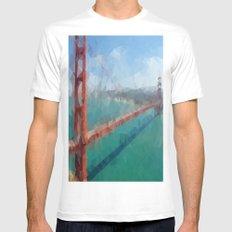 Triangular Golden Gate White Mens Fitted Tee MEDIUM