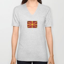 Old and Worn Distressed Vintage Flag of Macedonia Unisex V-Neck