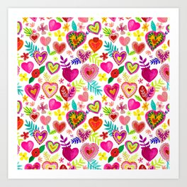 Colorful Hearts pattern Art Print
