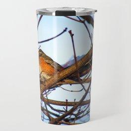 Winter Sunset Robin (4) Travel Mug