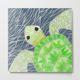 Tortu the Sassy Turtle Metal Print