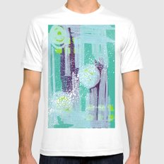Teal Background White Mens Fitted Tee MEDIUM