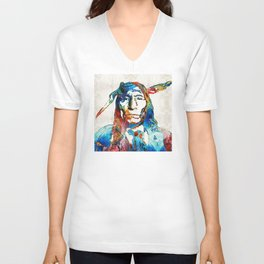 Native American Art - Warrior - By Sharon Cummings Unisex V-Neck