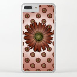 """Big Red Daisy, (pattern)"" Clear iPhone Case"