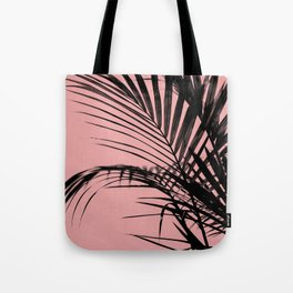 Palm leaves paradise with peach Tote Bag