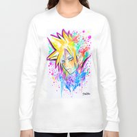 playstation Long Sleeve T-shirts featuring Original - CLOUD STRIFE - Watercolor Painting - Playstation by Jonny Clingan