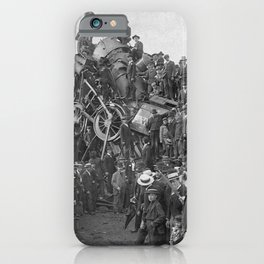 1896 Train Wreck, Buckeye Park in Lancaster, Ohio black and white photography / photograph iPhone Case