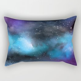 Navy Blue & Purple Glitter Cosmo Watercolor Galaxy Painting Rectangular Pillow