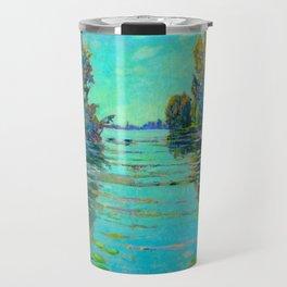 Václav Radimský (1867-1946) Waterlilies in evening light Modern Impressionist Oil Painting Colorful Travel Mug
